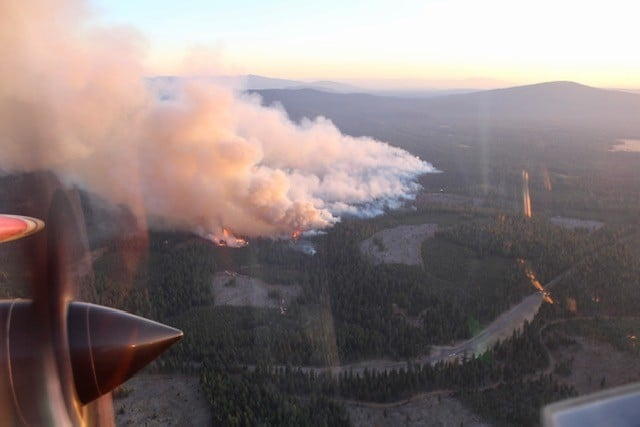 Aerial photo of a fire burning in a forest.