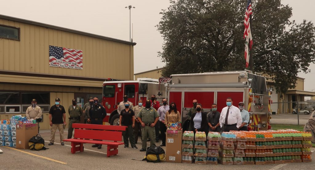 CDCR staff donate items for fire evacuees in Frenso County.