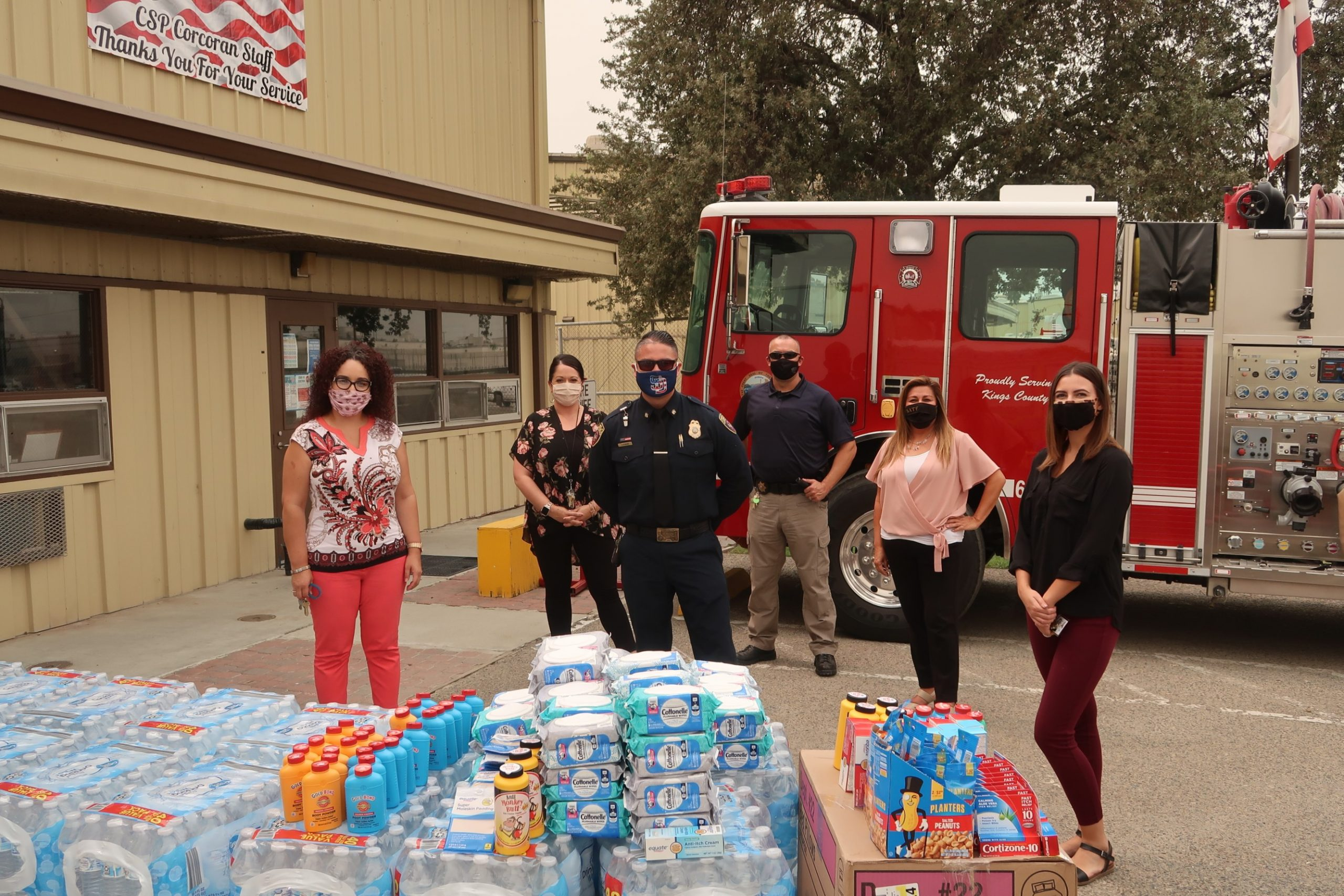 CDCR staff gather items to donate to fire evacuees in Frenso County.