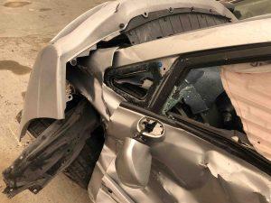 Crushed car.