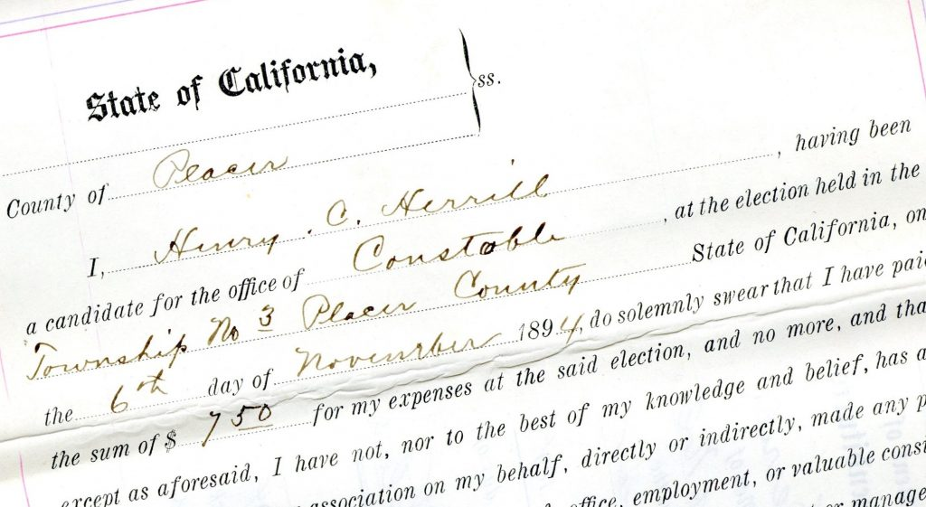 Former prison guard H.C. Herrill's candidate statement from the 1894 election.