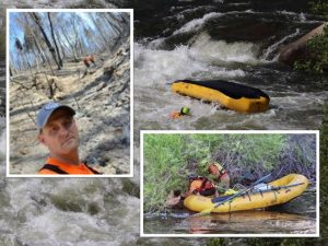 Photos show Dustin Stegall in a burned out fire area and in the water helping save a man.