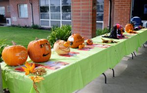 Staff-carved pumpkins are displayed at California Institution for Women.