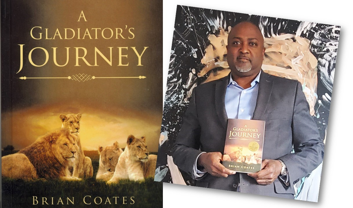 Brian Coates holds a book called A Gladiator's Journey.