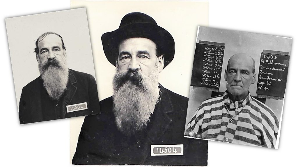 Mugshots of man E.M. Burrows with a long beard, then shaved off, in 1891 at San Quentin.