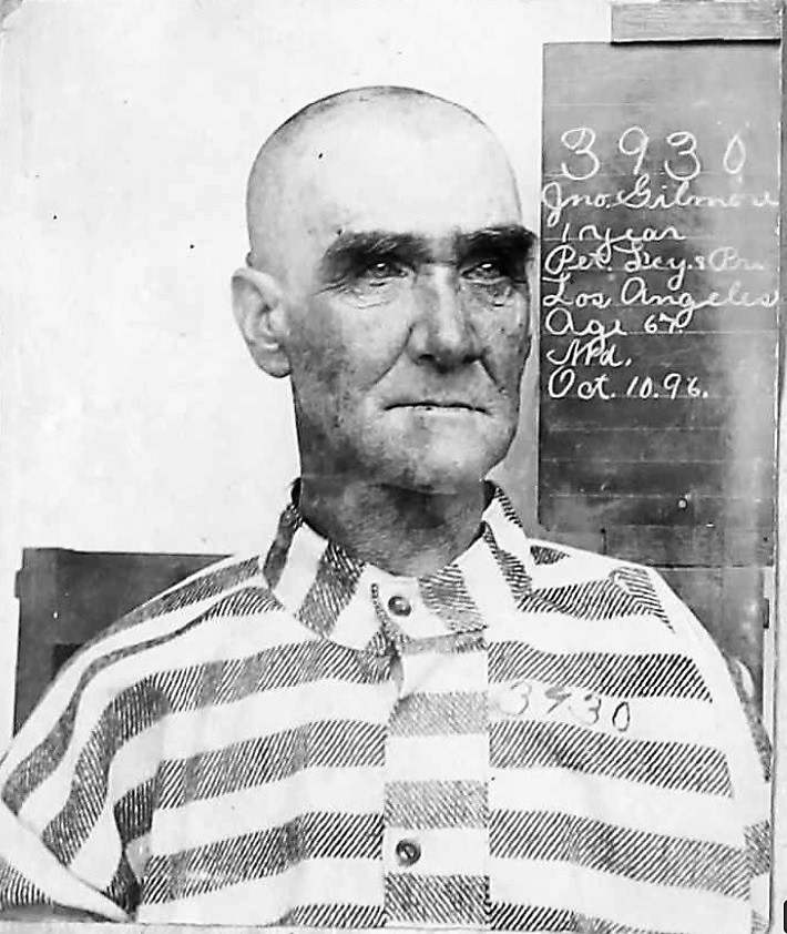 Folsom State Prison mugshots of Civil War veteran John Gilman in 1896.
