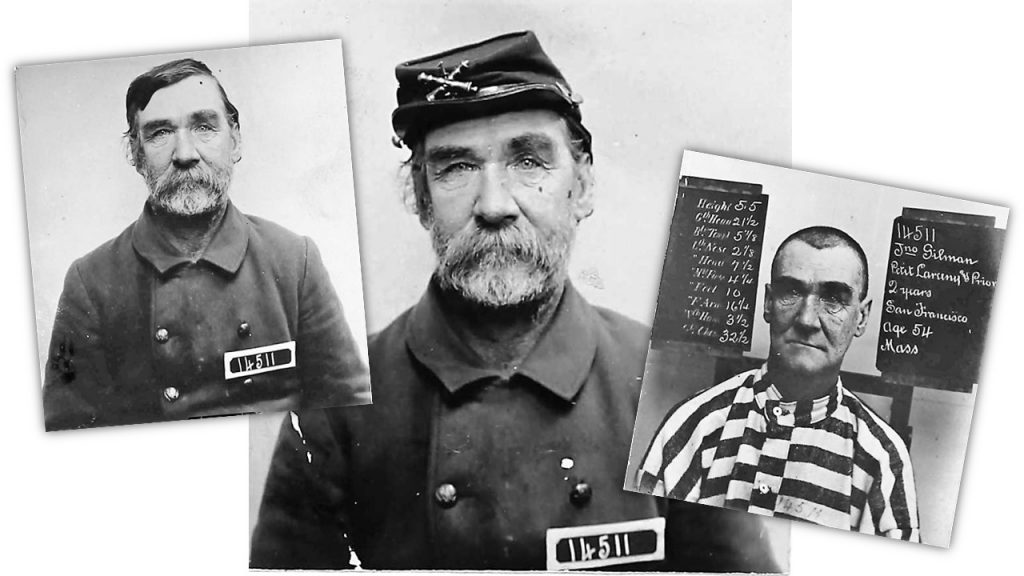 Civil War veteran John Gilman's mugshots who his uniform and then the prison stripes of San Quentin in 1891.