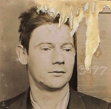 Damaged photo of Joseph Hoey at Folsom Prison in 1895.