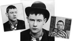 Mugshots of 17-year-old Joseph Hoey from San Quentin in 1891.