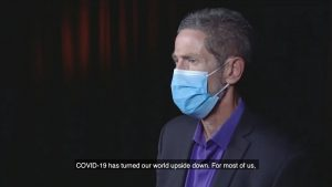 Dr. Joseph Bick wears a mask in this video screenshot.