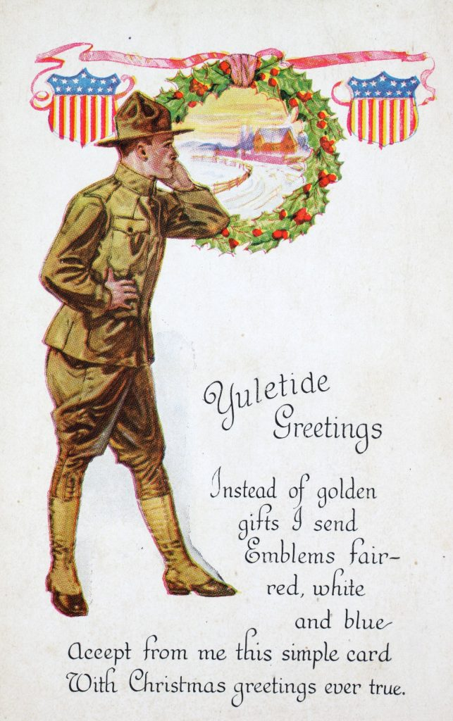 A World War I soldier is shown in a Christmas card.