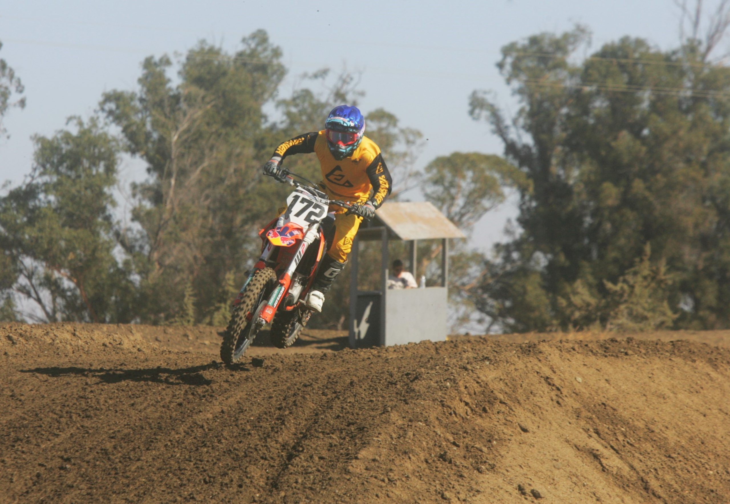 Correctional Officer Ronald De Jesus rides the track at the 2020 Fire Police Motocross races.