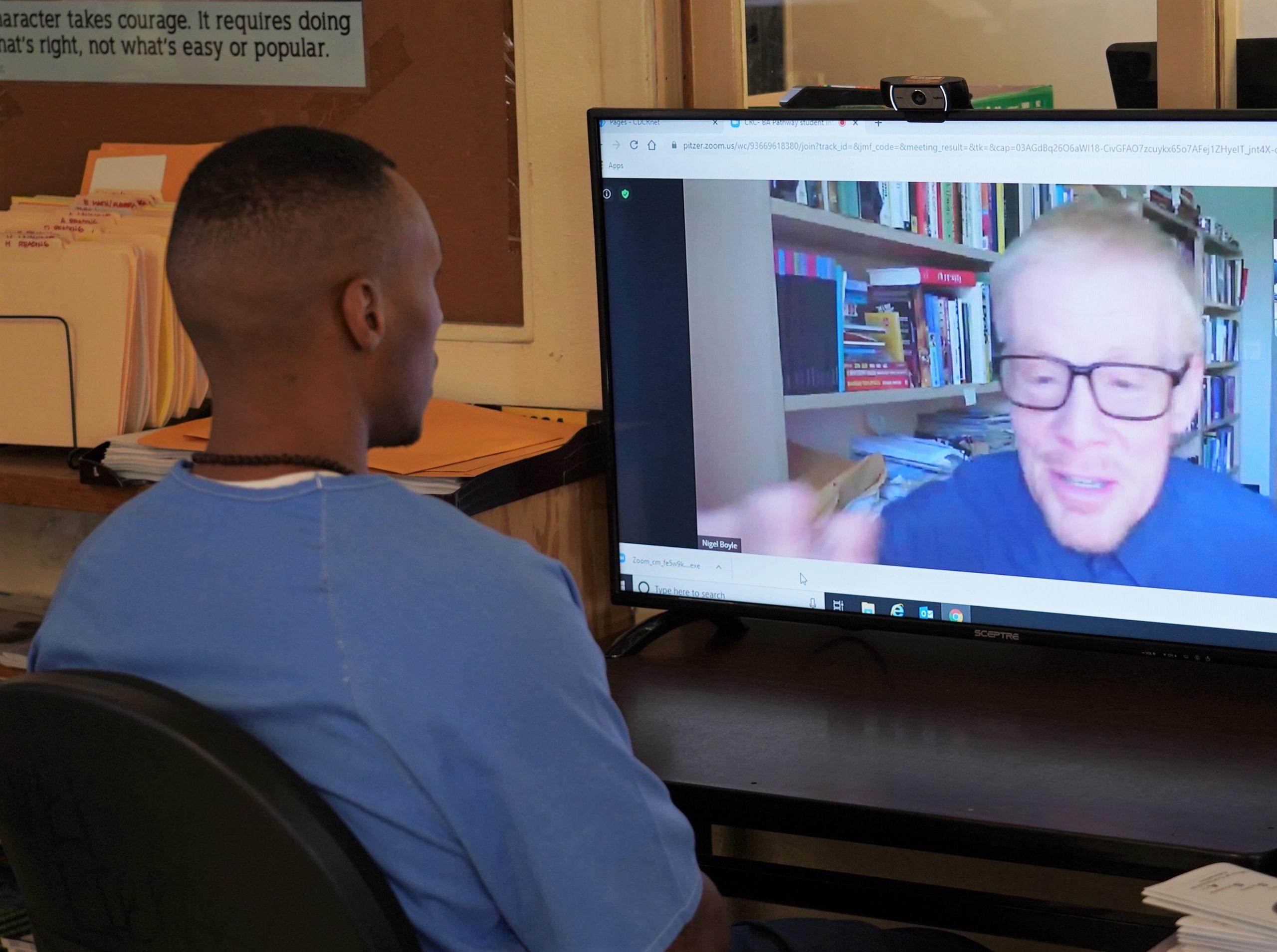 Incarcerated student takes classes virtually at California Rehabilitation Center.