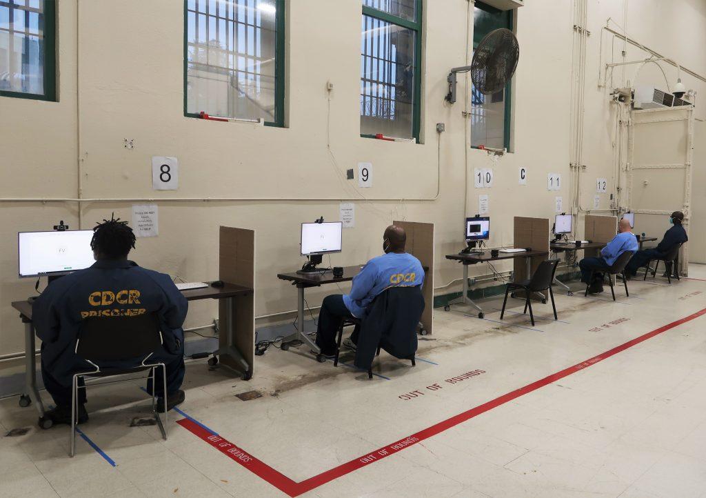 Video visiting stations were set up at Folsom State Prison.