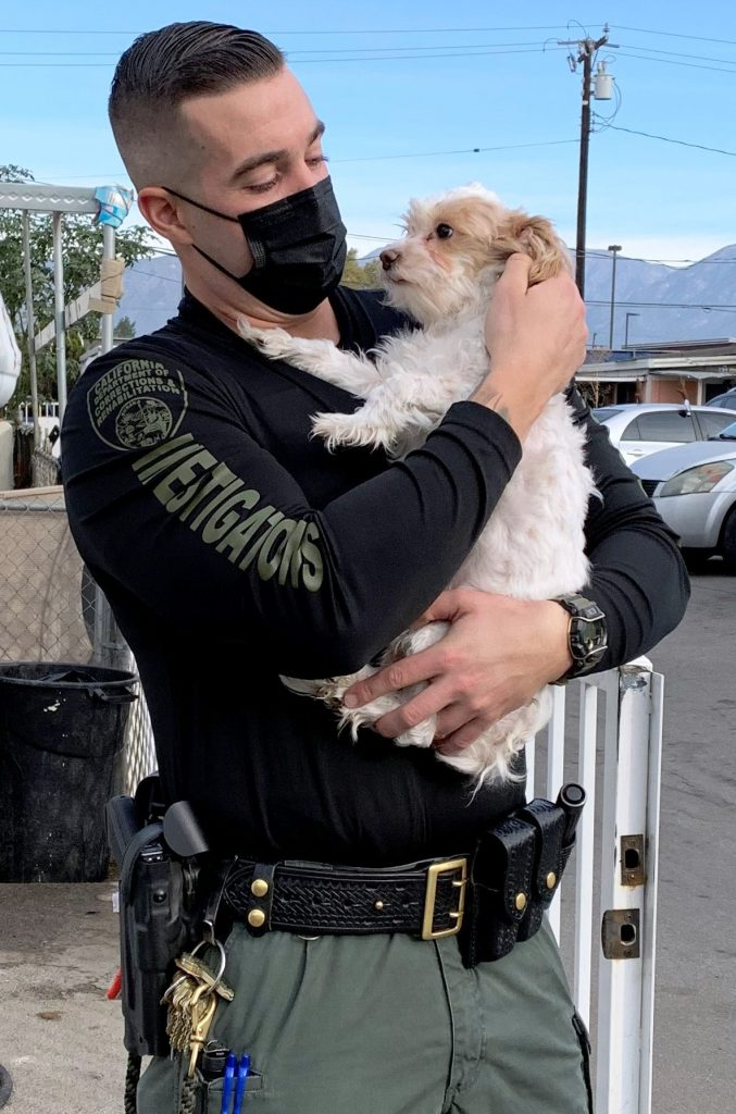 CDCR officer wearing mask and holding small dog