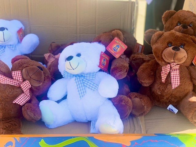 Teddy bears being donated to a hospital.