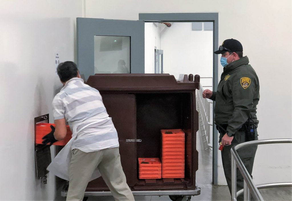 Mule Creek State Prison staff helped deliver meals to the incarcerated population during quarantine.