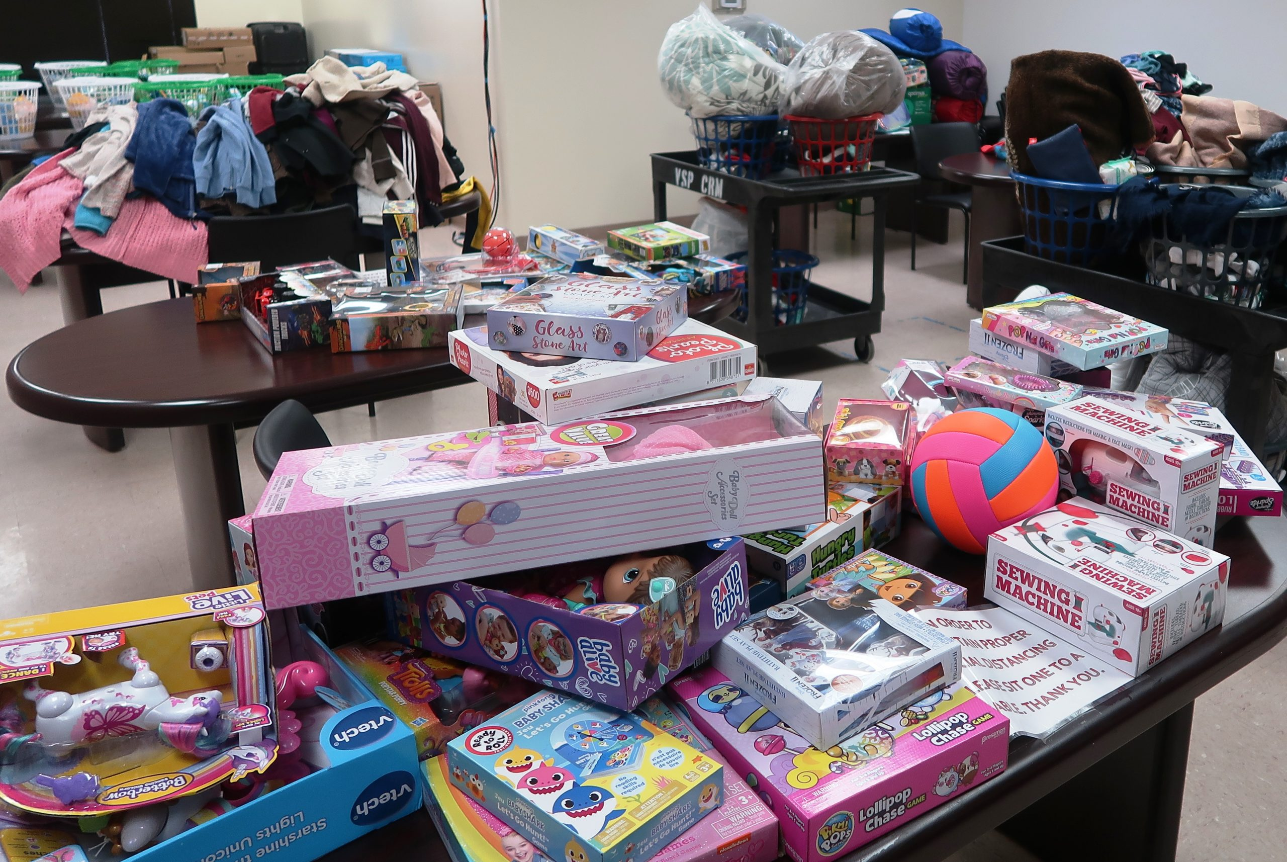 VSP staff collected toys and clothing to be donated to needy families.