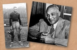 Photo of Walter Gordon in 1918 football uniform and a photo taken later of him sitting at a desk.