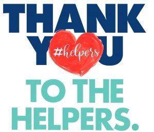 Image of note that states Thank You To The Helpers.