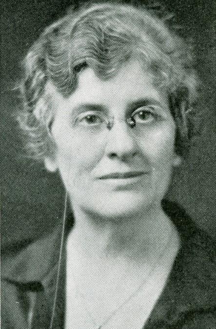 Woman wears glasses.