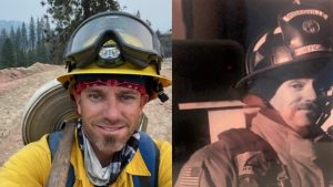 Firefighter wearing gear, one of them a Susanville uniform.