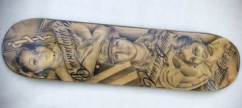 Avenal prison painted skateboard featured three portraits.