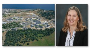 Woman smiles at camera while other photos shows aerial view of a prison and Folsom Lake.