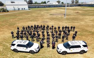 Dozens of CDCR K-9 Unit handlers and dogs stand in a field beside two law enforcement vehicles.