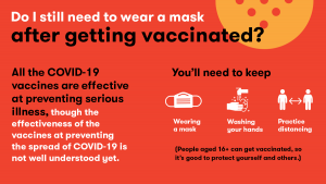 Wear a mask after COVID vaccination.