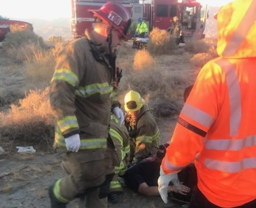 Ironwood prison staff and first responders rescue a crash victim.