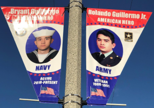 Two military members are shown on flags.