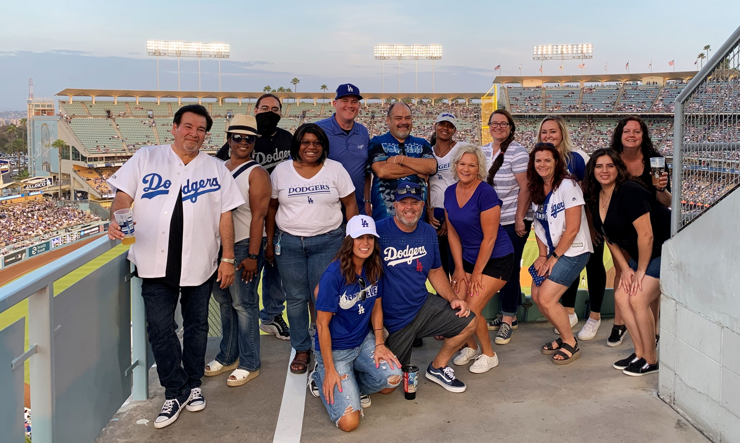 School staff and guests at Dodger Stadium.