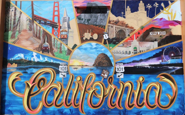 California Men's Colony mural shows landmarks of state.