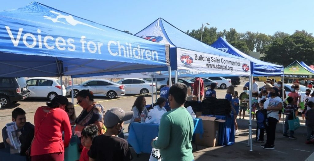 Backpacks and school supplies distributed students in San Diego.