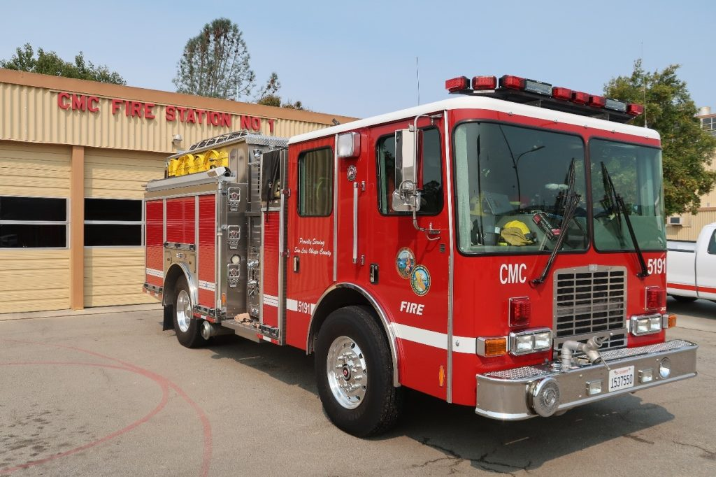 A fire engine in front of California Men's Colony Fire Station.