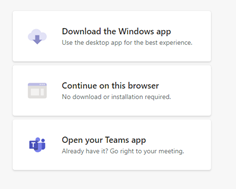 three choices to download app, use browser and teams app