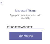 Teams login first and last name input