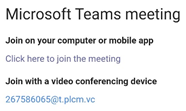 screenshot of how to john teams meeting, choices are computer or mobile app and join with a video conference device
