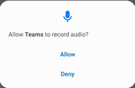 notice of allowing permission of Teams to record audio