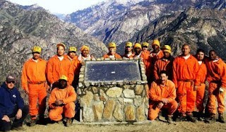 Inmates and staff at Miramonte Conservation Camp under the jurisdiction of Sierra Conservation Camp group picture