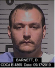 inmate Derek Barnett is a white male, 5 feet 10 inches tall, weighing 272 pounds with brown eyes, black hair, a mustache and goate