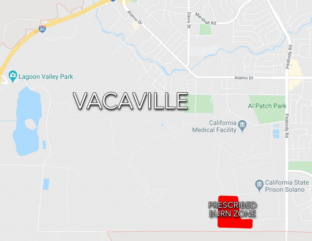 map of Vacaville CA with a small red 'prescribed burn zone' on the bottom right corner of the map.