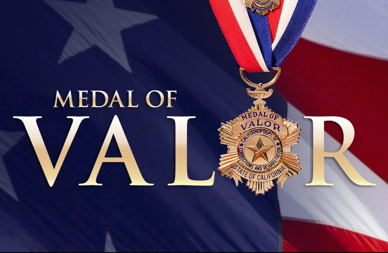 Medal of Valor Medal with American flag in background