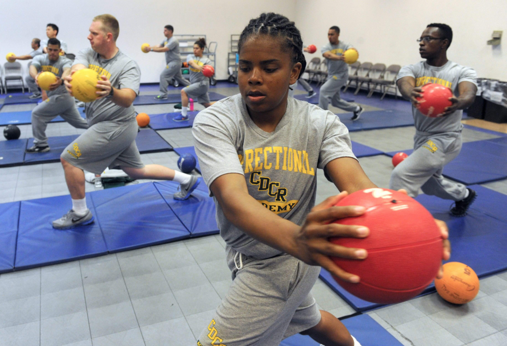 Cadet exercising with medicine ball