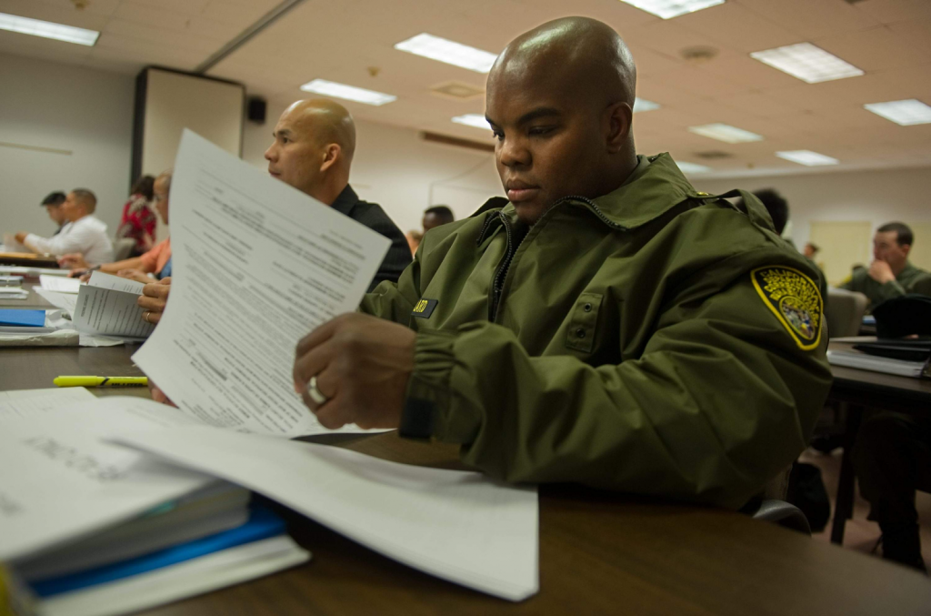 cadets taking the written exam