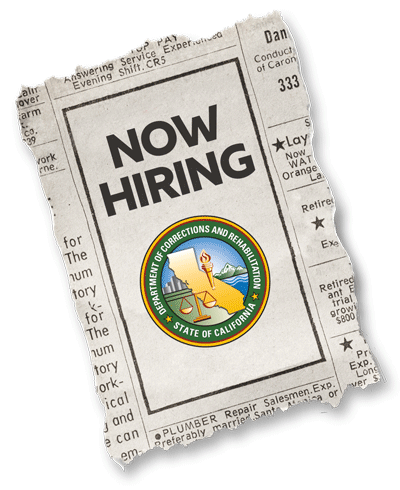 now hiring newspaper with CDCR logo