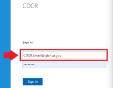 Showing the username entry field where you type your work email