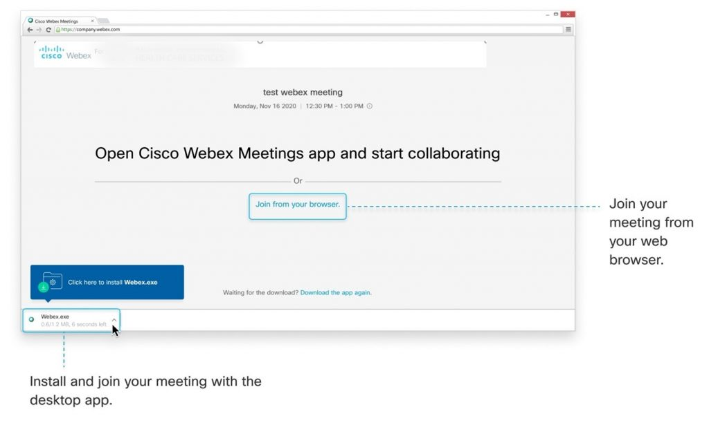 Screen shot of Cisco Webex options. Join meeting from your browser or install and join your meeting with the desktop app.