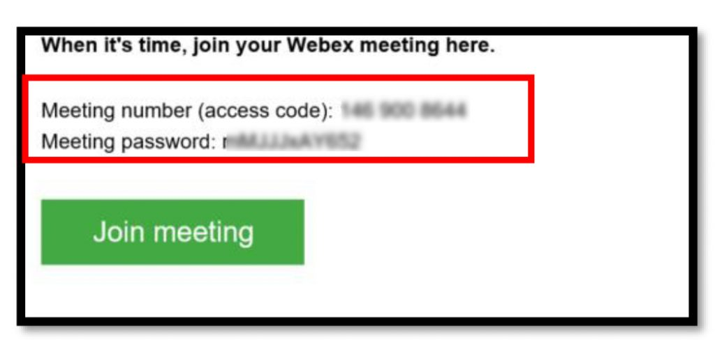 screen shot of webex interface with example of meeting number, meeting password. Green Join meeting button at bottom.
